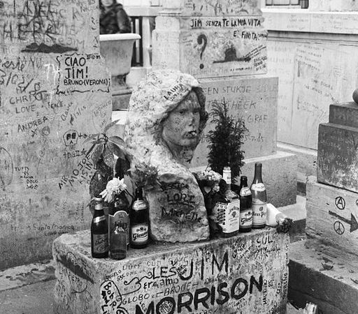 Jim Morrison's Grave at the Pere Lachaise in Paris