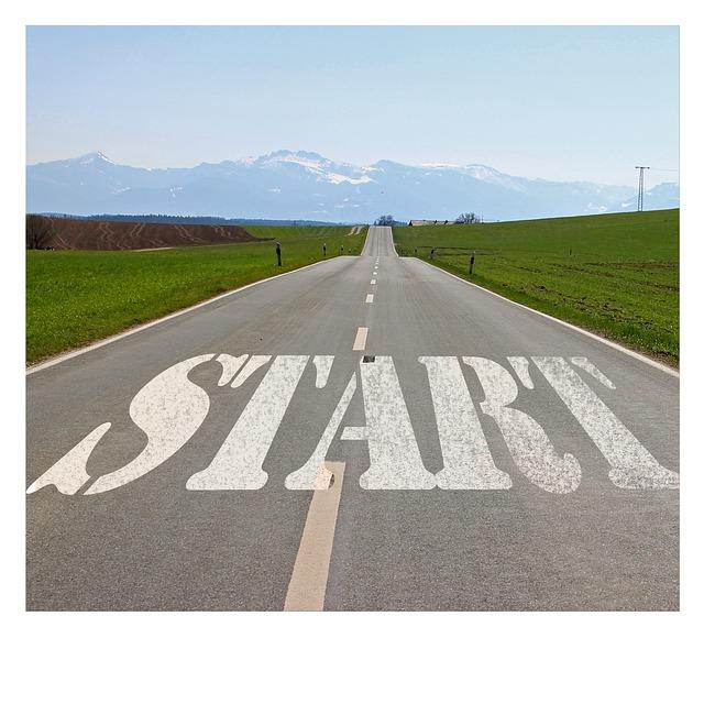 start, beginning of road