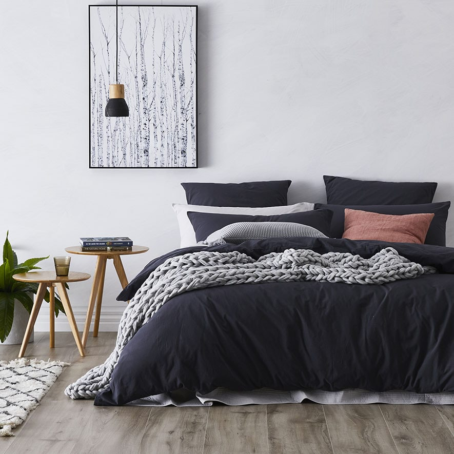 Home Republic Stonewashed Cotton Quilt Cover Charcoal