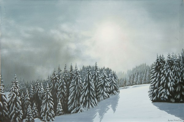'Storm Subsides' As the name says, the storm subsided and the dark clouds started to clear leaving a beautiful blanket of fresh, crisp snow. The new light on the fresh snow was just magical. This painting is from Les Gets in the Rhône-Alpes region in south-eastern France.