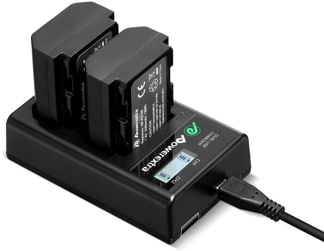 NP-FZ100 Battery Powerextra Upgraded 2 Pack Camera Batteries and Dual LCD Battery Charger Set