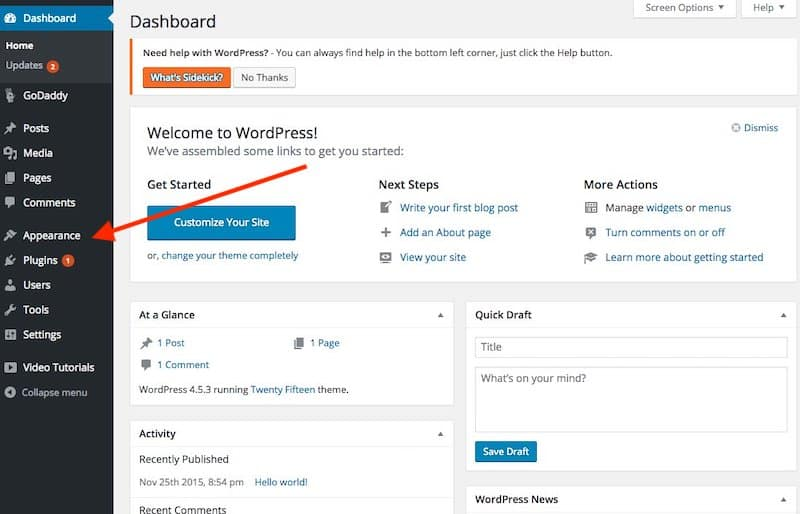 How to Start a Blog - WordPress dashboard