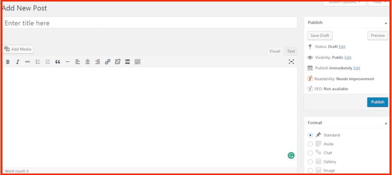 Come avviare un blog - editor di wordpress