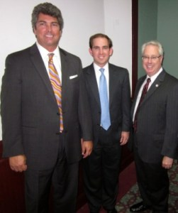 (L-R:  Hon. Michael P. Boggs, Georgia Court of Appeals; Adam Ferrell; Georgia Attorney General Sam Olens - Waycross Bar Association Meeting)