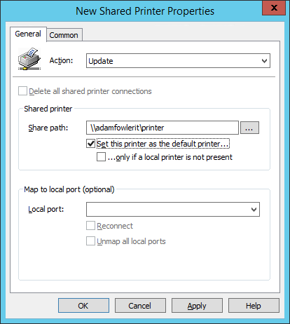 Default Printer At First Logon via Group Policy