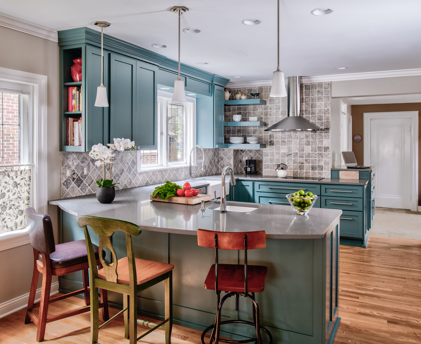 Blue/Green Kitchen And Powder Room