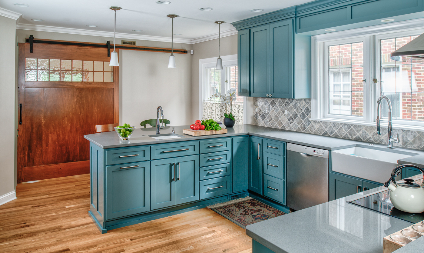 Blue/Green Kitchen and Powder Room – Adam Gibson Design