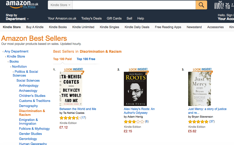 Amazon UK rank between Coates and Stevenson