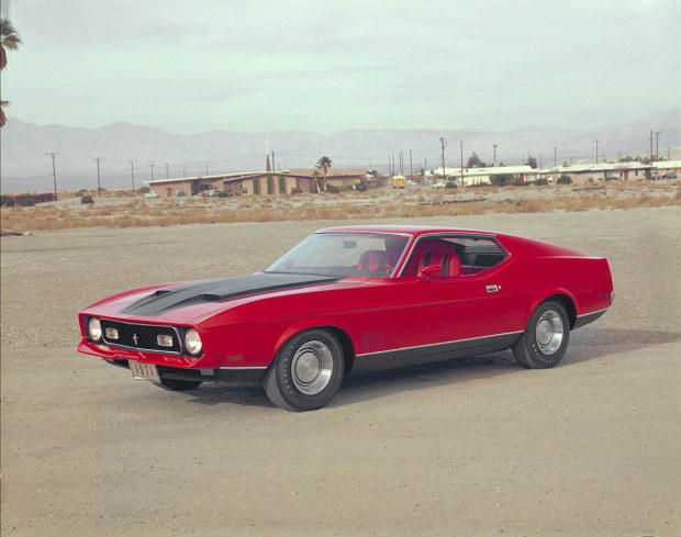 """1971: The biggest Mustangs ever – nearly a foot longer and some 600 pounds heavier than the originals – are introduced. The Boss 351, with its """"Cleveland"""" block and Cobra Jet heads, debuts. The Mach 1 comes with a variety of powertrains, topped by the 429 Super Cobra Jet (SCJ)"""
