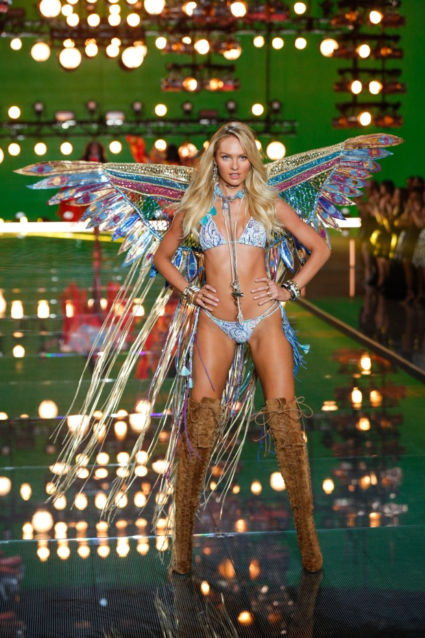 Candice Swanepoel walks the runway at the 2015 Victoria's Secret Fashion Show in New York City on November 10th, 2015