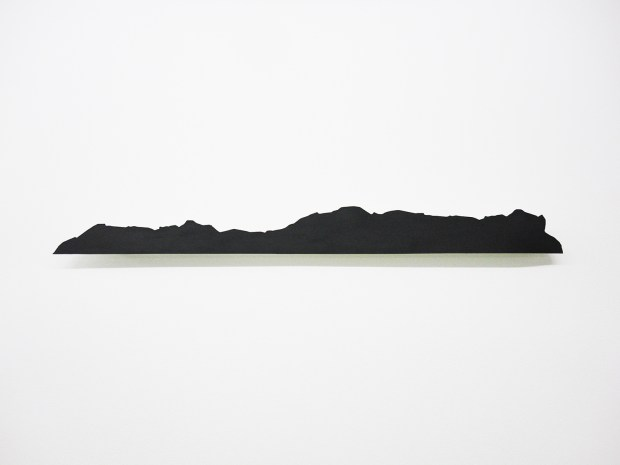 Island I, 2019, black graphite on paper, metal, 83,5x8cm