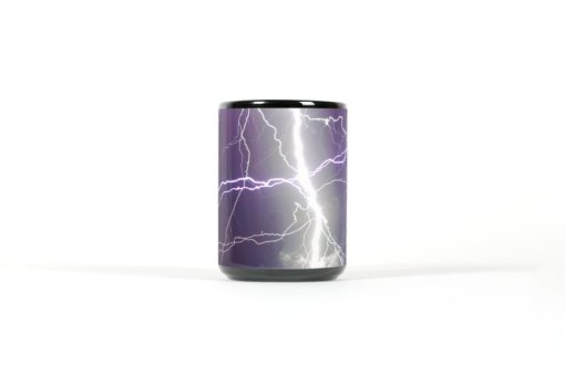 Center view of black mug with multiple lightning strikes