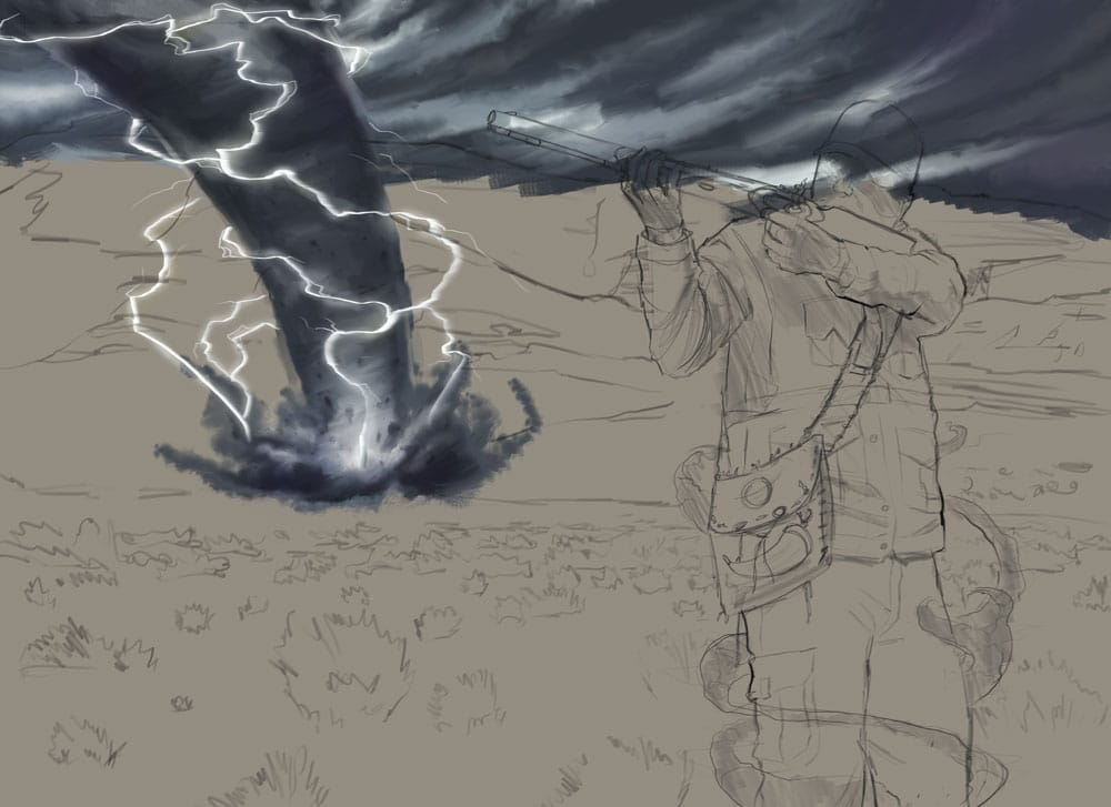 Painting the tornado on the Consequence book cover by Adam Miconi