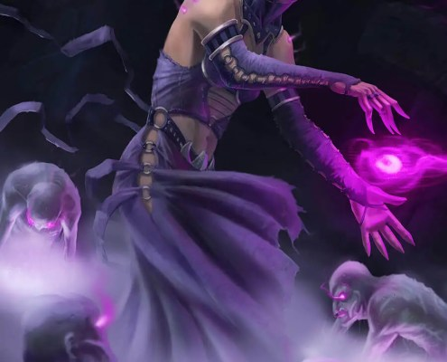 Sorceress conjuring the undead by gathering magic digital painting by Adam Miconi