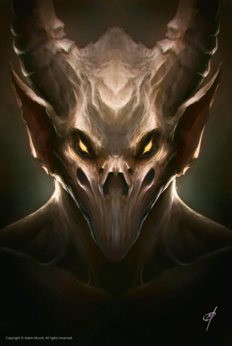 Demon like monster with horns and bat ears digital painting by Adam Miconi