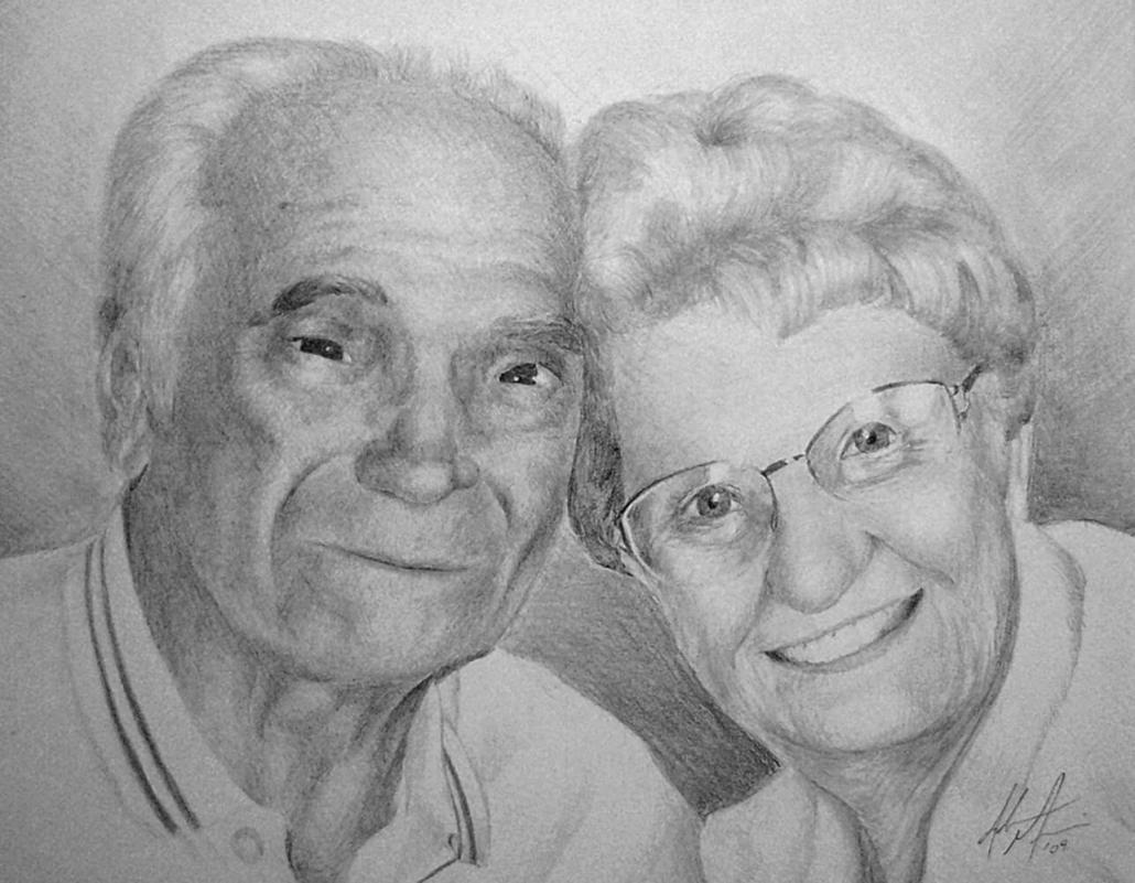 Gene and Iola Miconi charcoal portrait drawing memorial gift by Adam Miconi