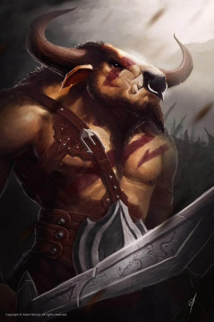Minotaur ready for battle digital painting by Adam Miconi