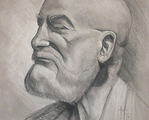 Old man charcoal portrait drawing study by Adam Miconi