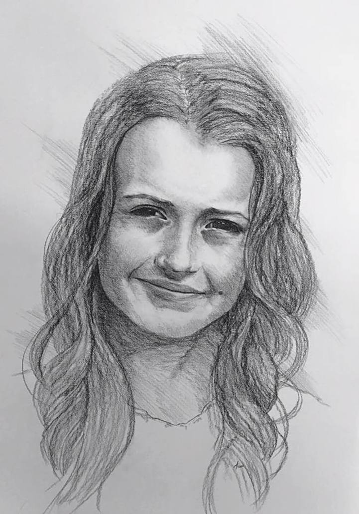 Sierra Hadley charcoal portrait drawing by Adam Miconi