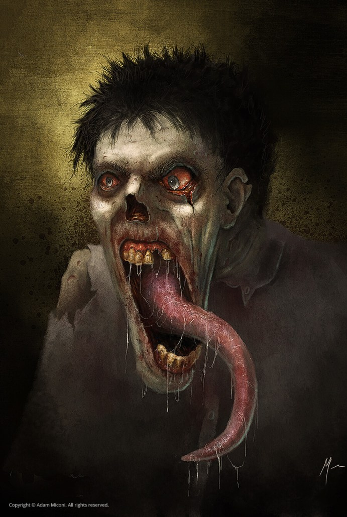 Zombie with a very long tongue by Adam Miconi
