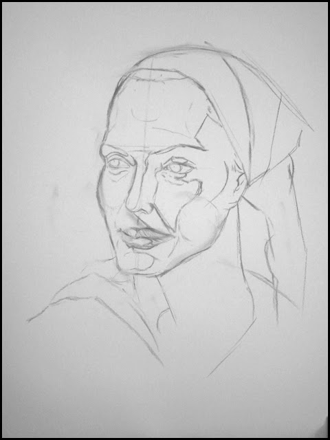 woman's portrait in charcoal Shadow Mapping