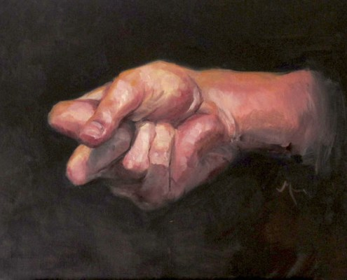 Oil painting study of a hand making a fist by Adam Miconi