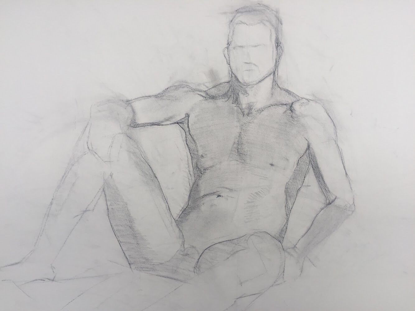 Committing the line work in the figure drawing