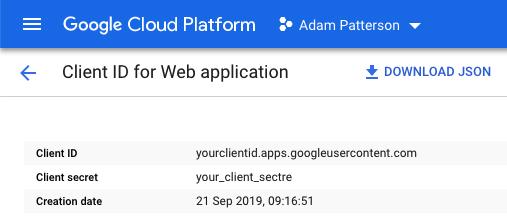 Google Site Kit - Google Cloud - Client ID for Web Application