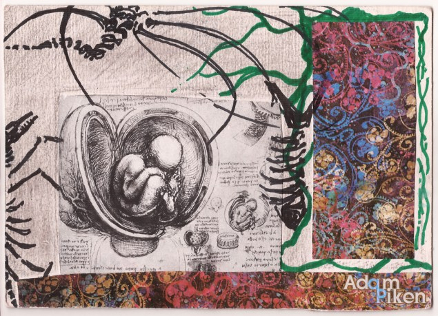 Collage, ink, pencil on paper