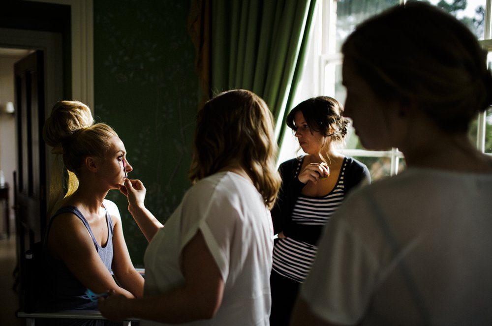 bride getting ready stubton hall