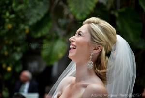 brides showing her happiness