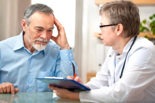 physician and worried patient