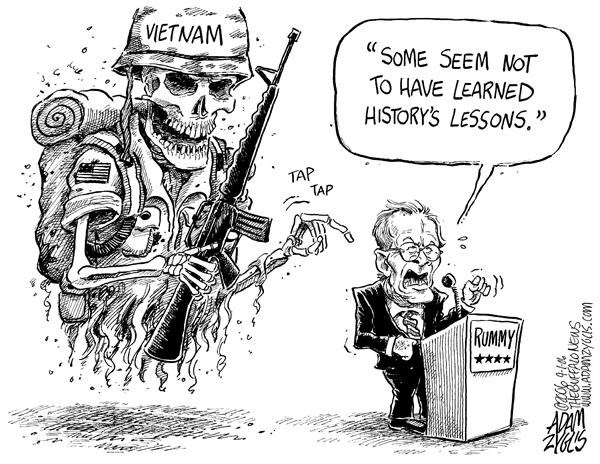 Rumsfeld and Iraq war, cartoon