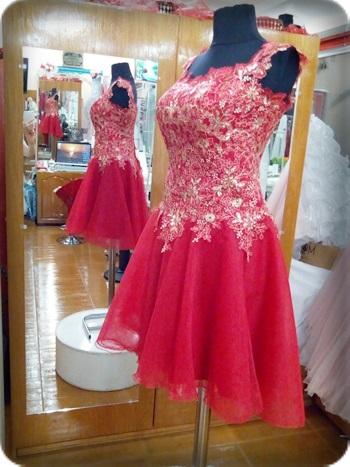 Kalın askılı Kırmızı kına kıyafeti