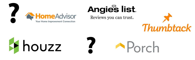 Homeadvisor vs Angie's List vs Houzz vs Thumbtack vs Porch