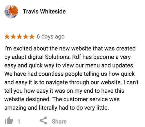 A screenshot of a five star Google review from Travis Whiteside of Rawdeadfish who had a website built by Adapt Digital Solutions