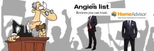 Homeadvisor and Angie's List standing in courtroom with judge looked at them inquisitorily and an angry mob in the backgorund