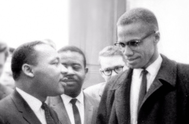 Martin Luther King, Jr. (1929-1968) and Malcolm X (1925-1965) exemplified an all-inclusive approach to the matter of civil rights for African-Americans, incorporating elements of education, nonviolent resistance—and yes, violence when necessary • Photo by Marion S. Trikosco, March 26, 1964 • Public-domain image courtesy of Wikimedia Commons • https://commons.wikimedia.org