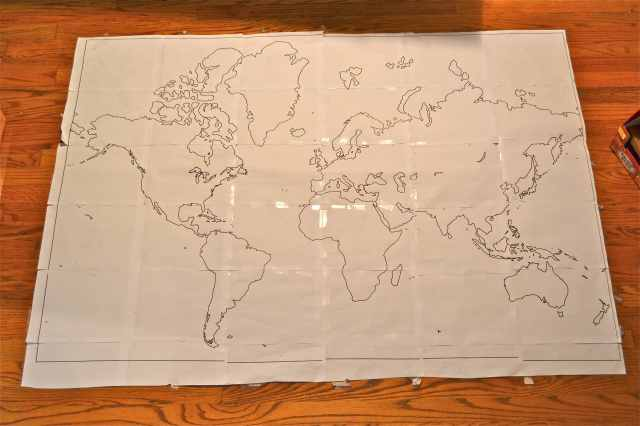 World Map Stencil Onto Wall The world map traced onto