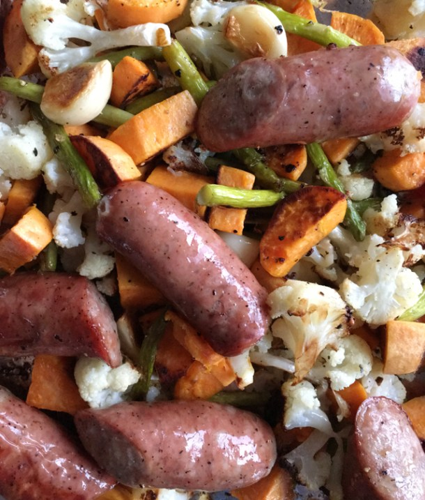 Roasted Veggies and Sausages with sweet potatoes, cauliflower, asparagus, and garlic