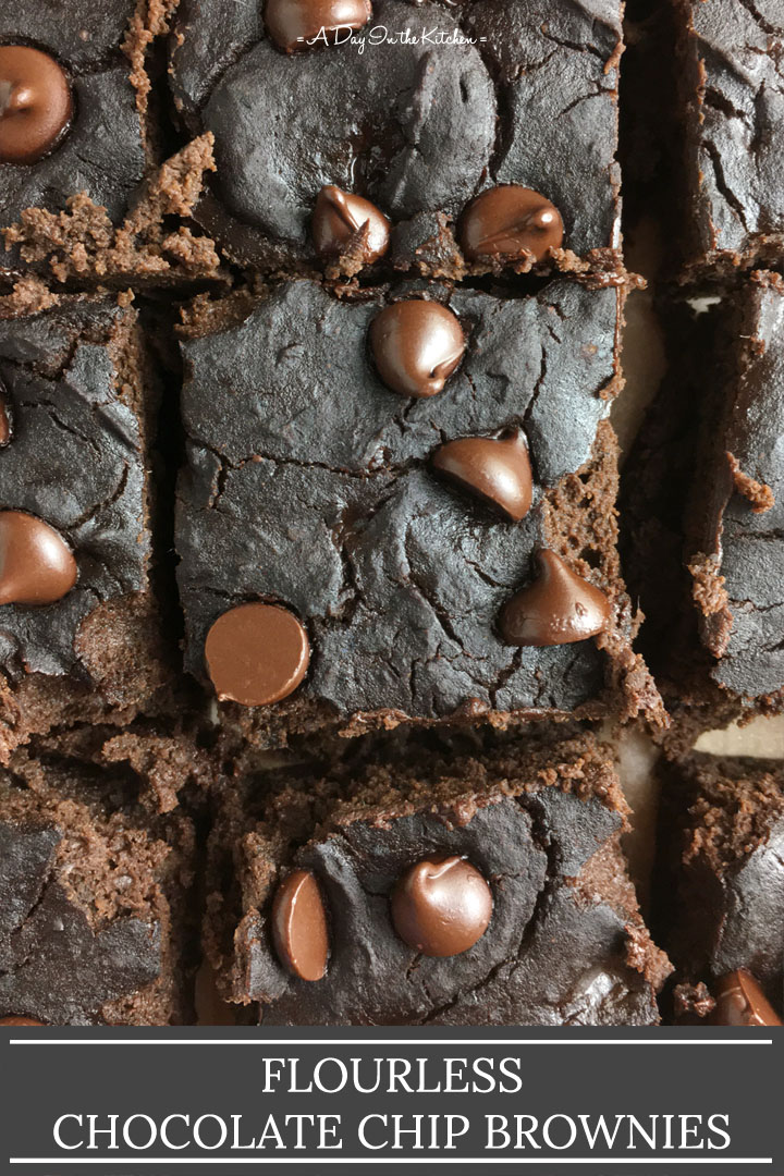 Close-up of square brownies, the words flourless chocolate chip brownies at the bottom