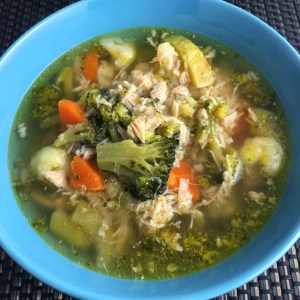 Closeup of chicken vegetable soup