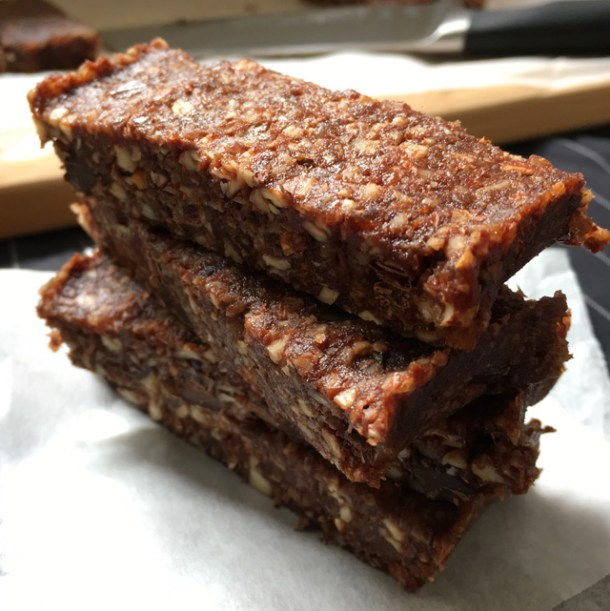 A stack of Chocolate Chip Date Nut Bars