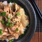 Japanese Butadon Pork Bowl with chopsticks