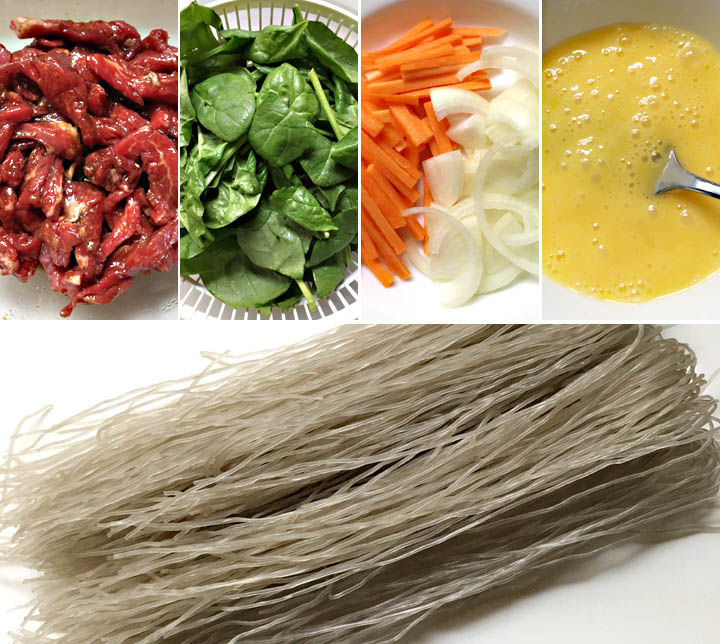 Ingredients for how to make Korean sweet potato noodles
