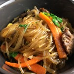 Close up of a bowl of japchae