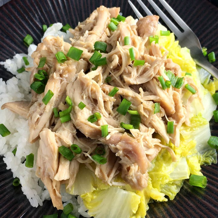 A dark round plate containing white rice, yellow vegetables, and pulled chicken topped with chopped green onions