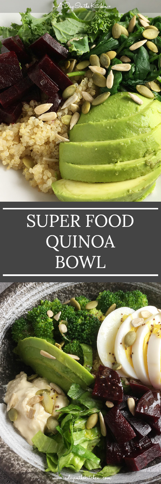 This Super Food Quinoa Bowl is refreshing, satisfying, and tasty, all-in-one! Top it with your favorite super foods for a perfectly healthy one-dish meal! #quinoabowl #superfood #quinoa #glutenfree