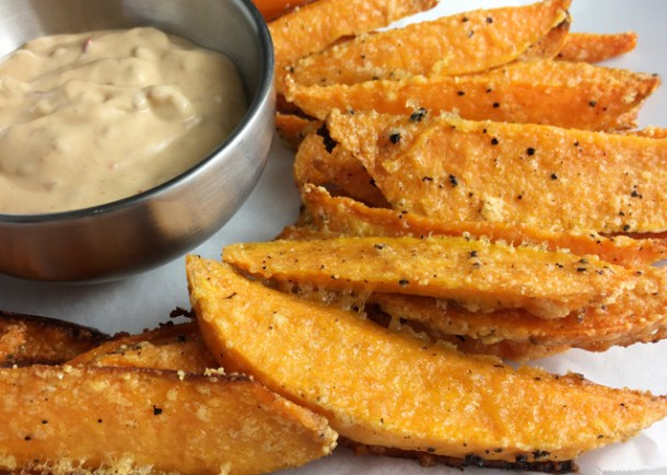 Crispy Sweet Potato Fries with a dish of chipotle mayo