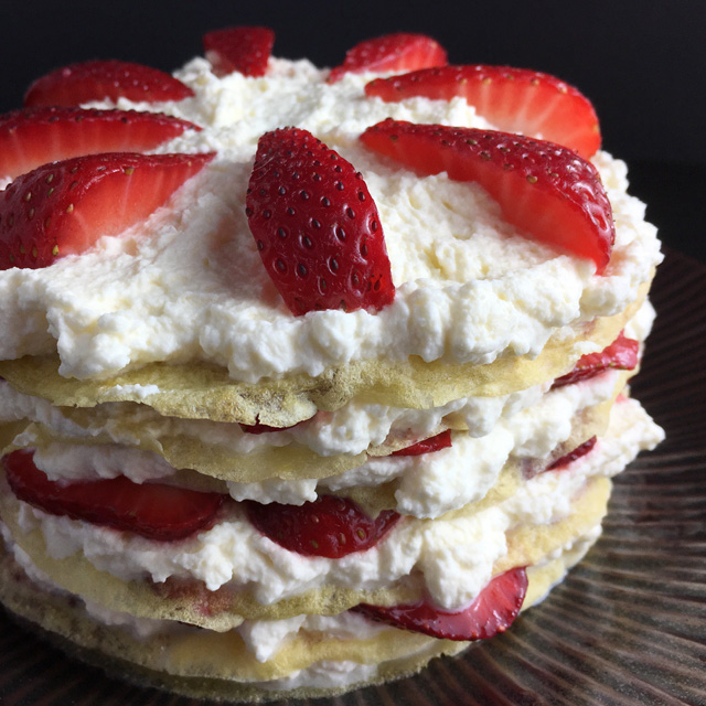 Strawberry Cloud Crepe Cake